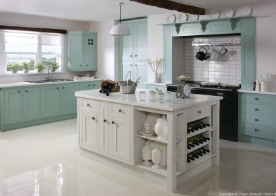 Cotswood Green Blue & Stone White